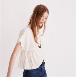 Madewell micropleated top in cream